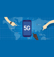 5g phone technology connect worldwide smart and vector image vector image