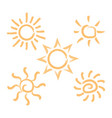 abstract brush style sun isolated summer ic vector image vector image