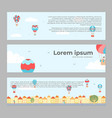 banners with hot air balloons in town vector image