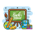 blackboard with backpack and pencils colors to vector image