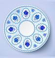 Blue ornamental plate in traditional style vector image vector image