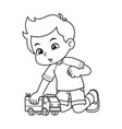 boy playing with his truck toy bw vector image vector image