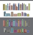 buildings and skyscrapers object line colour set vector image