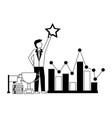 businessman holding star chart trophy flag success vector image vector image