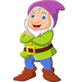 cartoon happy dwarf isolated on white background vector image vector image