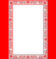 chinese royal floral border frame red on white vector image vector image