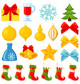 colorful cartoon 20 xmas elements set vector image