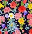 colorful floral design on dark background seamless vector image vector image
