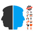 dual face icon with love bonus vector image vector image
