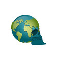 earth skull head of skeleton is planet continents vector image vector image