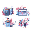 education and graduation isolated icons online vector image vector image