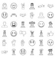emotion icons set outline style vector image vector image