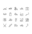 farm machinery and equiment line icons signs vector image vector image