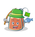fishing tea bag character cartoon art vector image vector image