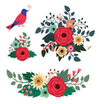 Floral bouquets and blue bird vector image vector image