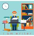 Freelancer writer guy flat design concept