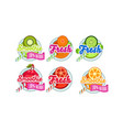 fresh smoothies logo set kiwi orange lime vector image vector image