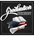 Graduation Ceremony Book hat and certificate vector image vector image
