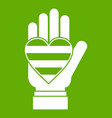 hand holding heart of lgbt icon green vector image vector image