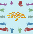 hands up colors voting hand raised up vector image vector image
