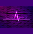heart beat cardiogram glowing purple neon sign