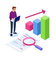 isometric data analysis concept handling large vector image vector image