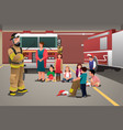 kids visiting a fire station vector image vector image