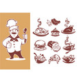large collection for your menu chef breackfast vector image