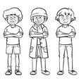male characters in three costumes vector image vector image