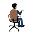 Man Sitting on the Chair and Pointing on Something vector image vector image