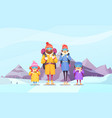 mountaineering family cartoon vector image
