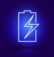 neon battery with zipper on the stand glows in vector image vector image