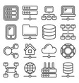 network icons set on white background line style vector image vector image
