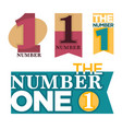 number one emblems set with stars and ribbons vector image