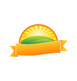 orange farm hill nature ribbon emblem symbol vector image