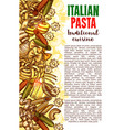 pasta sketch banner with italian macaroni border vector image vector image