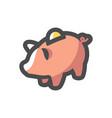 piggy bank toy icon cartoon vector image