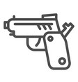 pistol line icon gun isolated vector image vector image