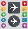 Plane icon sign A set of 12 colored buttons and a vector image