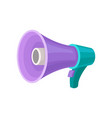 purple megaphone with turquoise handle and button vector image