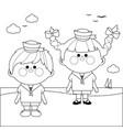 sailor boy and girl at beach vector image vector image