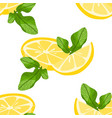 seamless pattern with sliced lemons and mint vector image