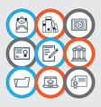 set of 9 school icons includes library vector image vector image