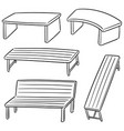 set of bench vector image