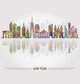 skyline background with new york architecture vector image vector image