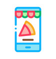 slice pizza phone icon outline vector image