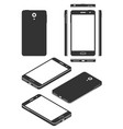 smartphone mock-up isometric and flat silhouettes vector image vector image