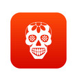 sugar skull flowers on the skull icon digital red vector image vector image
