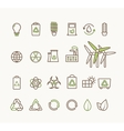 thin line ecological icons set icons vector image vector image
