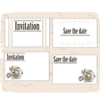 Vintage invitation cards set vector image